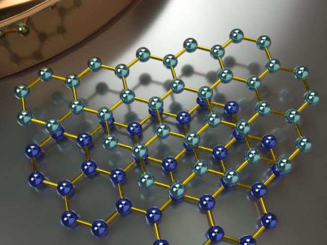 Concept art of the crystal structure (top view) of AB-stacked bilayer graphene. Credit: Peter Allen, UCSB